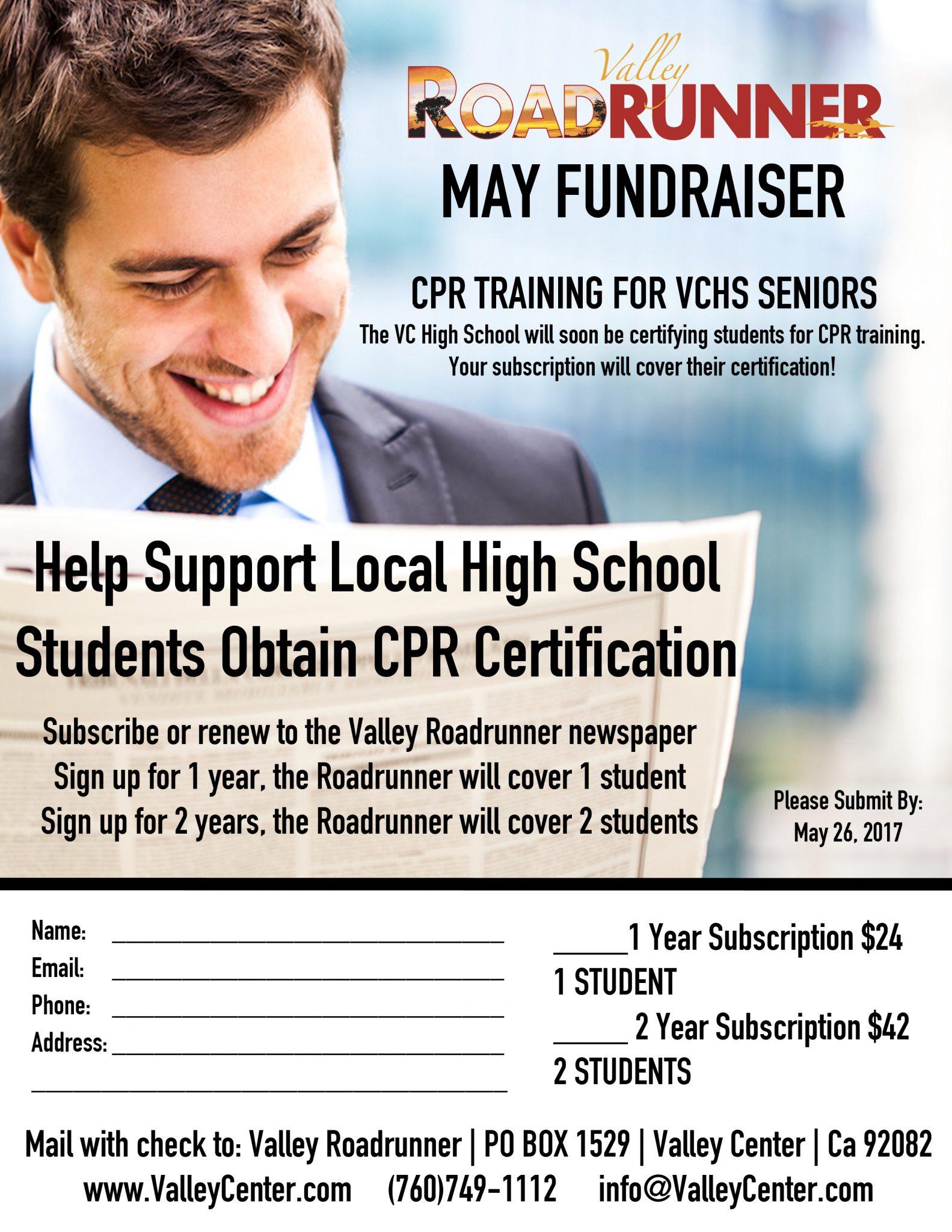 May Fundraiser Vchs Senior Cpr Certification Valley Roadrunner